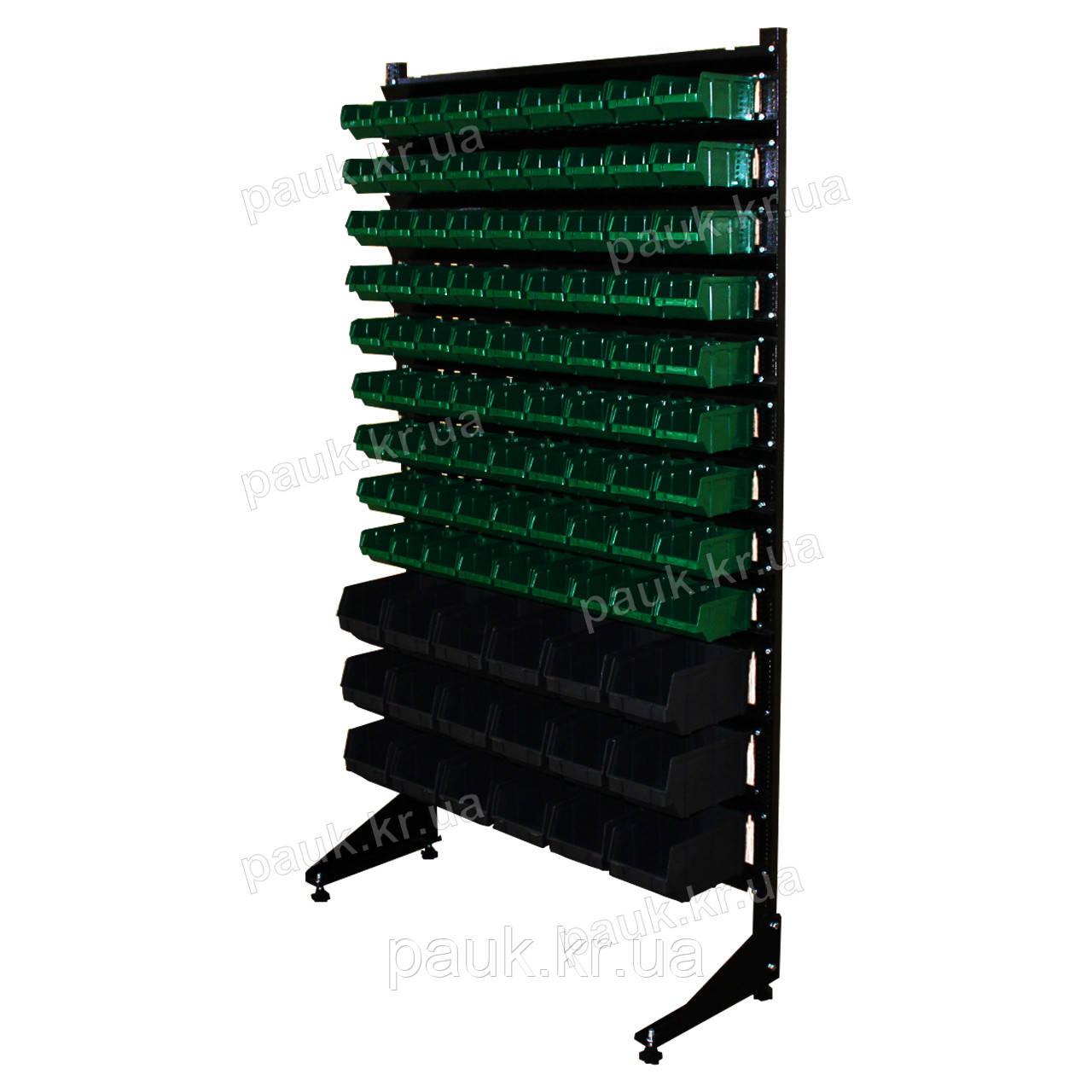Стеллаж с ящиками 1800 мм 99 ящиков, стеллаж односторонний с пластиковыми контейнерами В/С