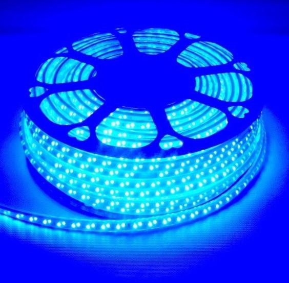Светодиодная лента линзованная Premium SL-13B SMD 2835/120 220V синяя IP65 (1м) Код.59392