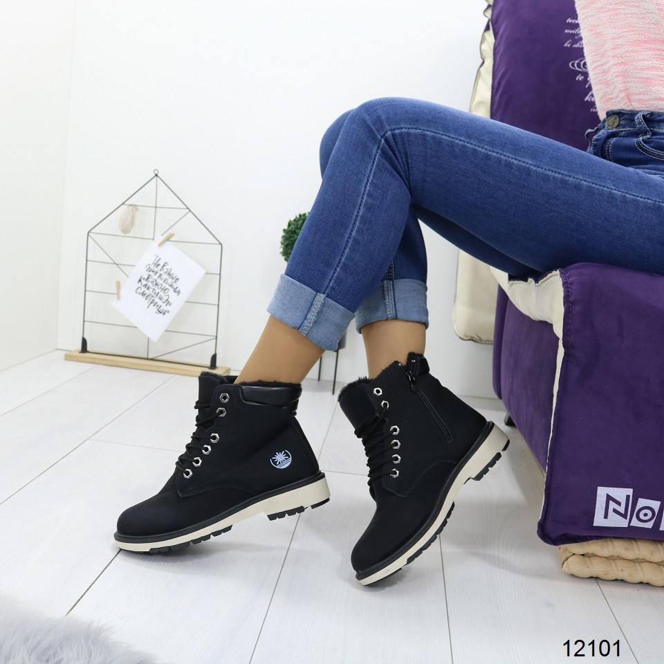 Женские зимние ботинки на низком каблуке со шнуровкой, А 12101