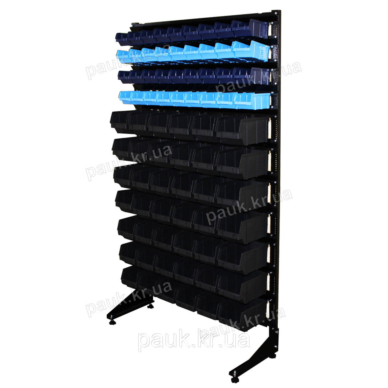 Торговая стойка с ящиками 1800 мм 78 ящика, стеллаж метизный односторонний В/С