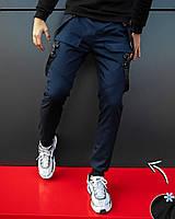 """Молодежные мужские зимние карго штаны """"Енот"""" на флисе темно-синие - размер L, фото 1"""