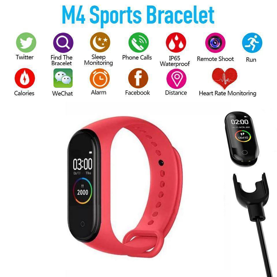 Фитнес браслет Smart Band M4 Красный. Давление, трекер сердечного ритма, пульс. Фитнес трекер. Шагомер. Часы.