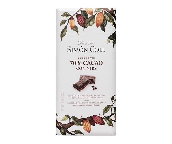 Чорний шоколад SIMON COLL 70% з крупинками какао-бобів 85 г