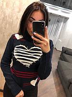 Красивый шерстяной новогодний женский свитер (вязка), фото 1