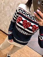 Невероятно теплый шерстяной женский свитер с сердцем (вязка)