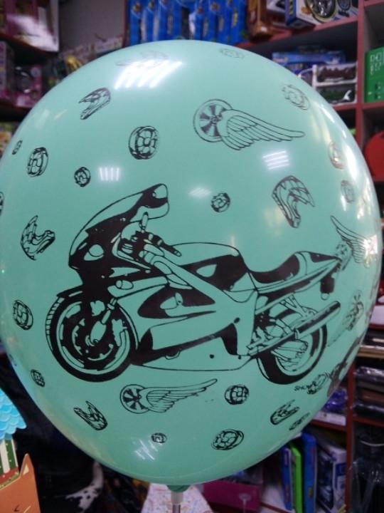 Шар воздушный для мальчика с рисунком мотоцикл 1шт