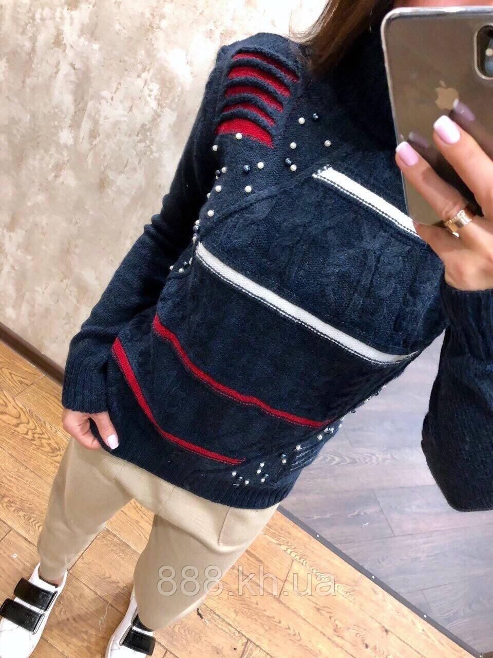 Теплый шерстяной женский свитер (вязка)