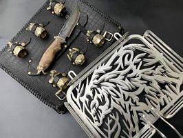 """Авторский набор для барбекю ручной работы """"Медведь"""" (решетка, чарки, нож), в чехле из натуральной кожи"""
