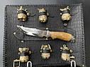 """Набір для барбекю """"Ведмідь"""" (решітка, чарки, ніж), в чохлі з натуральної шкіри, фото 2"""
