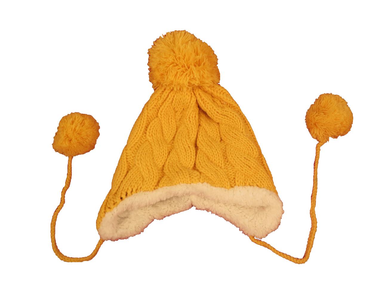 Шапка детская вязаная желтая с помпоном