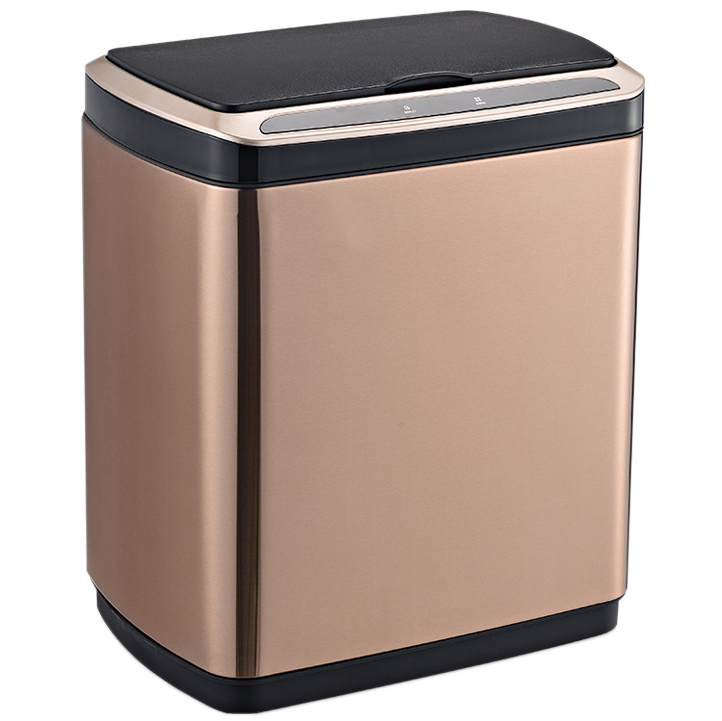 Сенсорное мусорное ведро JAH 30 л прямоугольное розовое золото без внутреннего ведра