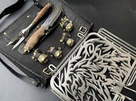 """Эксклюзивный набор для барбекю """"Медведь"""" (решетка, чарки, вилка, нож), в чехле из натуральной кожи"""