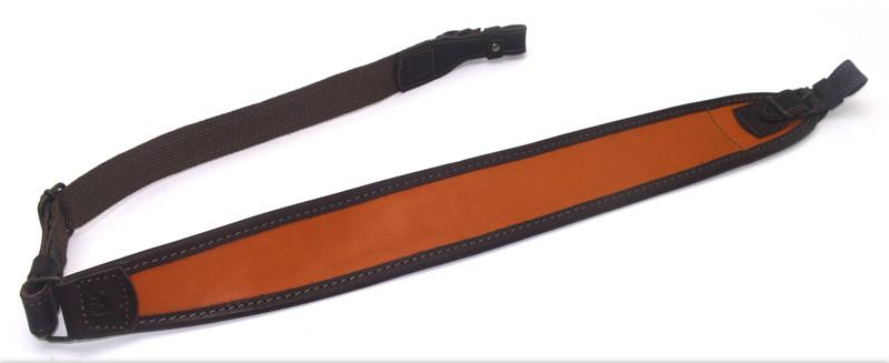 Ремень для ружья трапеция кожа гидрофобная коричневый + оранжевый 50103/4