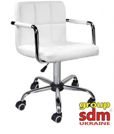Кресло мастера Артур белое на колесах от SDM Group, экокожа
