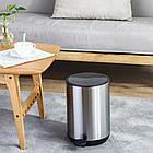 Ведро для мусора с педалью Nordic Style JAH 10 л круглое серебряное без внутреннего ведра, фото 2