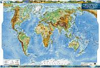 Фізична карта світу, м-б 1:35 000 000 (ламінована, на планках)