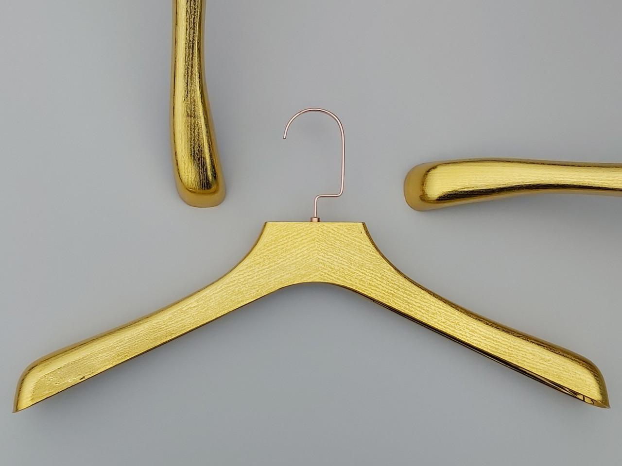 "Длина 44,5 см. Плечики вешалки пластмассовые широкие ""под дерево"" золотого цвета"