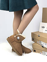 Угги женские в стиле UGG Australia Mini Bailey Button Brown, фото 2