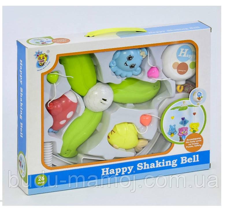 Музыкальная карусель с игрушками на кроватку на батарейках