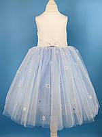 Детское нарядное белое платье снежинка