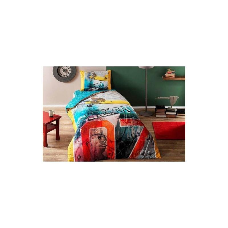 Постельное белье Tac Ranforce Teen - Plane sari v01 желтое подростковое