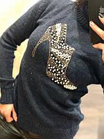 Красивый шерстяной женский свитер со стразоми (вязка), фото 1