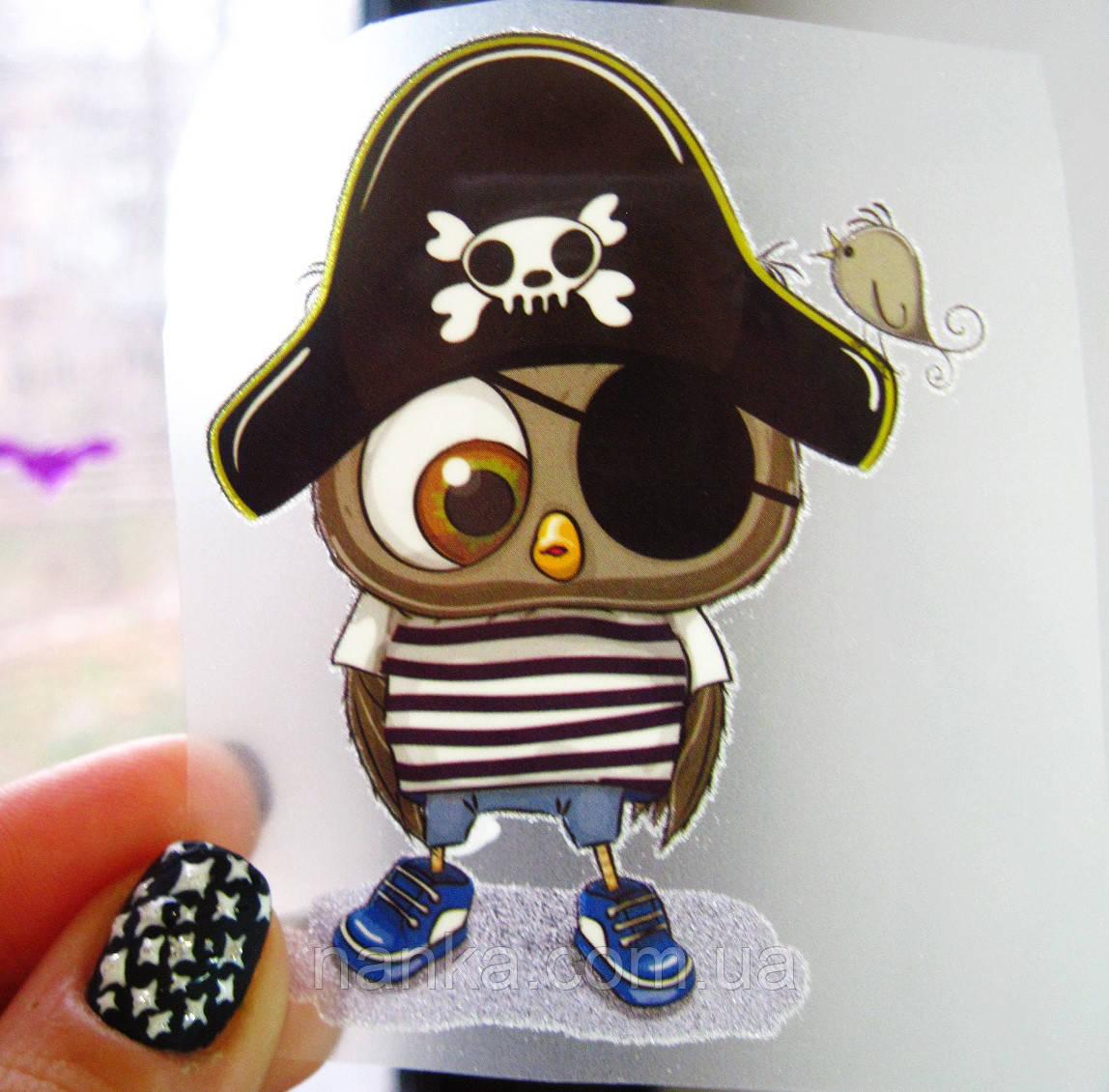Термо наклейка, трансфер, наклейка на одежду Совенок пират, 5,5х8 см