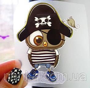 Термо наклейка, трансфер, наклейка на одежду Совенок пират, 5,5х8 см, фото 2