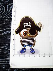 Термо наклейка, трансфер, наклейка на одежду Совенок пират, 5,5х8 см, фото 3