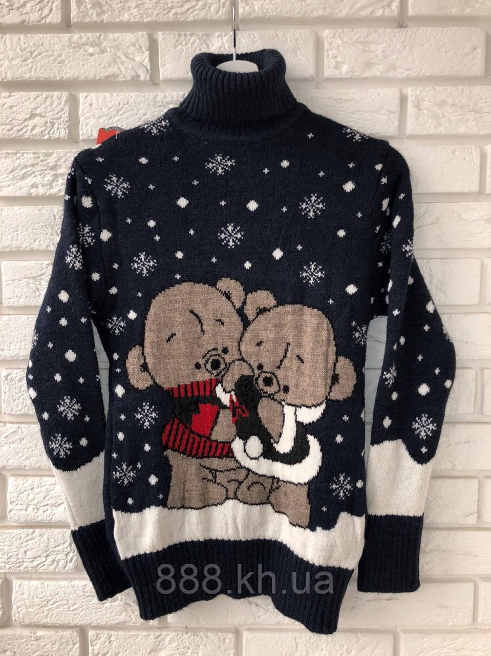 Нарядный шерстяной женский свитер с медвежатами (вязка)