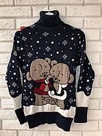 Нарядный шерстяной женский свитер с медвежатами (вязка), фото 1