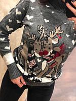 Нарядный шерстяной женский свитер с оленями (вязка)