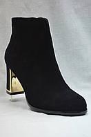 Черные замшевые  ботинки MALROSTTI с металлическими вставками на каблуке  , фото 1