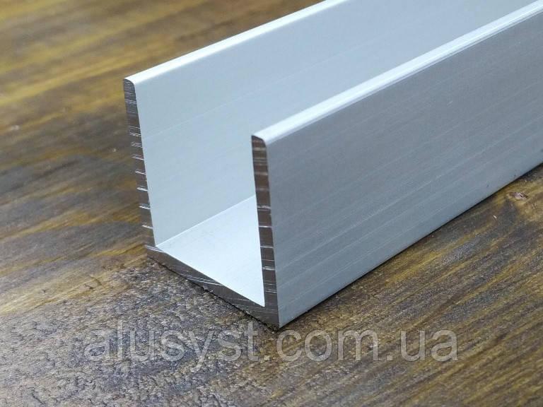 Алюминиевый швеллер 20х20х1,5| П профиль, Анод