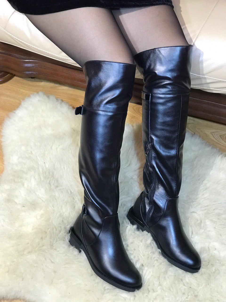 Сапоги женские зимние из натуральной (ЗАМШИ) (КОЖИ) Ботфорты ЗИМА на низком каблуке 41 размер