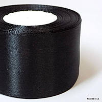 Лента атласная, 5 см, Цвет: Чёрный (5 метров/уп.)