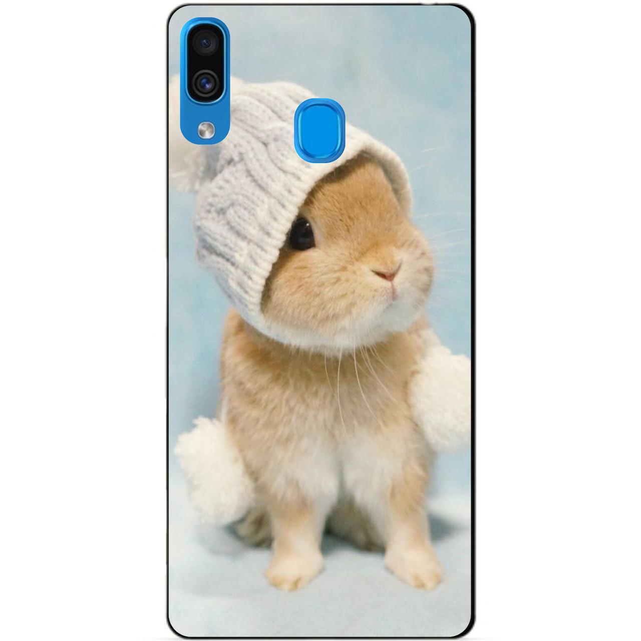 Силіконовий бампер чохол для Samsung A30 2019 Galaxy A305f з малюнком Зайчик в шапочці