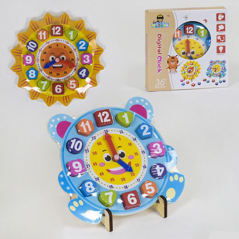 Деревянная игрушка Часы-сортер С 39133 2 вида, в кор