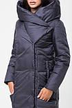 Довга зимова куртка KTL з асиметричним коміром, графіт, фото 2