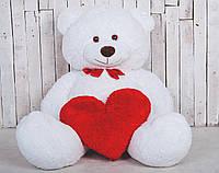 Большой плюшевый мишка с сердечком Yarokuz Джеральд 165 см Белый