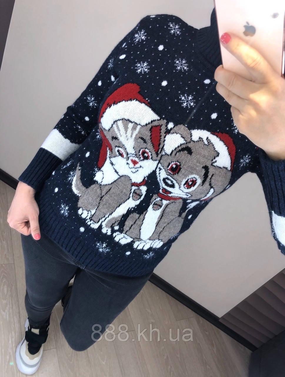 Чудесный шерстяной праздничный женский свитер с собачками (вязка)