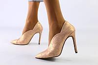 Женские кожаные туфли с сатиновым напылением Питон 39 и 40рр