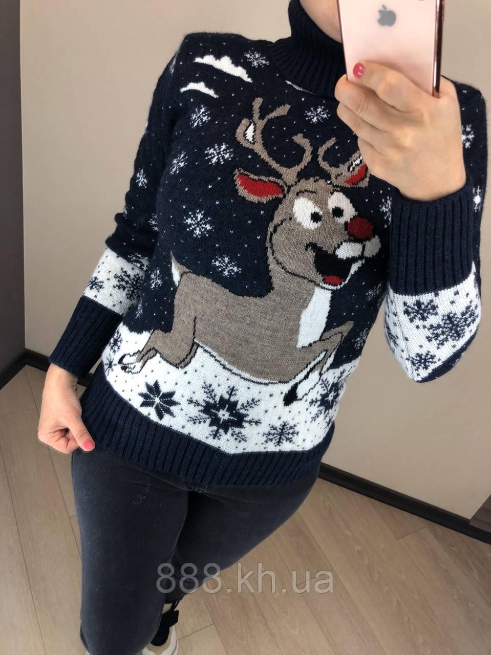 Потрясающий теплый шерстяной женский свитер с веселым оленем (вязка)
