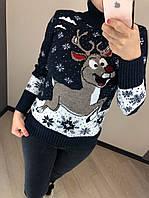 Потрясающий теплый шерстяной женский свитер с веселым оленем (вязка), фото 1