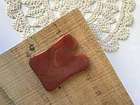 Скребок Гуаша из агата(сердолика). Прямоугольный с выемкой