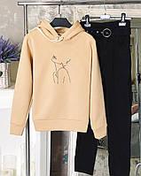 Худи женское кофта зимняя с капюшоном ТОП качество X beige WOM, фото 1