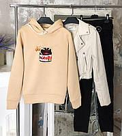 Худи женское кофта зимняя с капюшоном ТОП качество X beige nutella, фото 1