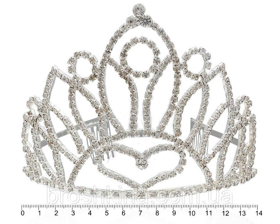 Диадема металл/кристаллы высота 9.5 см