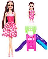 Кукла Ася и маленькая кукла на горке, Детская площадка, Ася