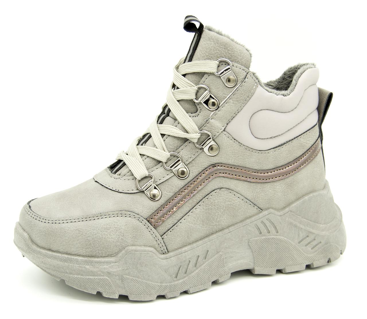 Зимние кроссовки для девочек и девушек Серые Зима